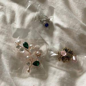 Jewerlly bundle, 1 set of earrings &  2 brooches